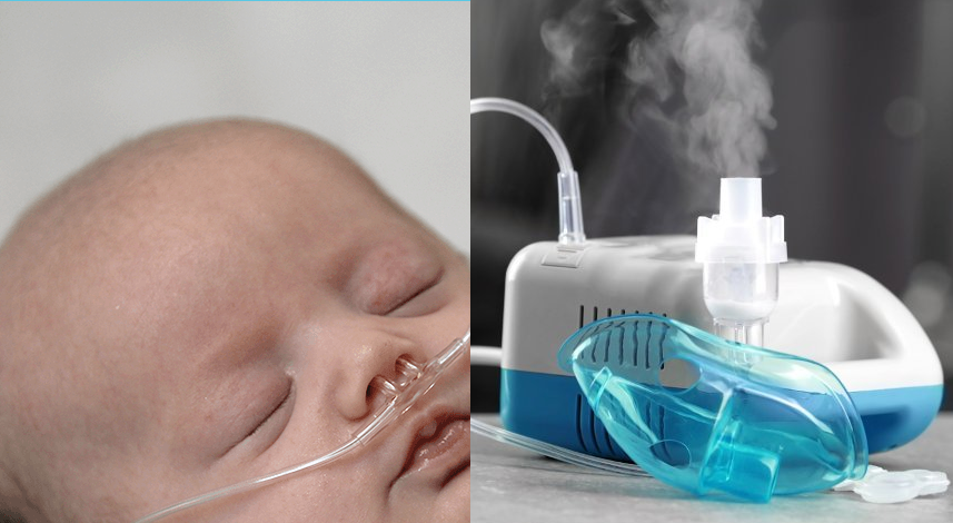 Respiratory distress requires treatment with oxygen, nebulization